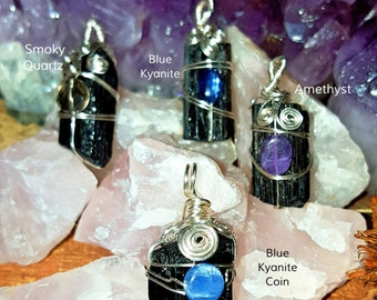 SageAine: Black Tourmaline Crystal Pendants, Reiki Charged, Crystal Healing, Dispel and Transmute Negativity, crystal healing