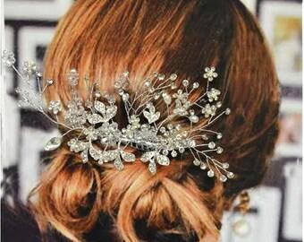 Venice Bridal Hair Comb, Wedding Hair Comb, Pearl and Crystal Hair Comb, Wedding Hair Accessories, Floral Bridal Headpiece