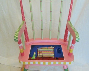 Princess rocking chair, girl's rocking chair, custom hand painted furniture, children's furniture, princess and the pea, rocking chairs