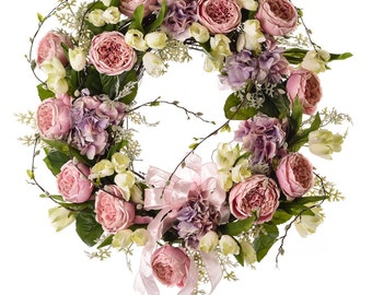 Pink Cabbage Rose Spring & Summer Wreath (SW705)
