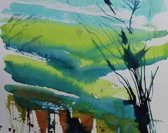 Original landscape painting, ink on paper, ink painting, cornwall landscape, summer landscape, rolling hills, green fields, valley