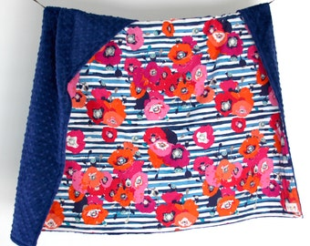 Large Baby/Toddler Blanket, Colorful Flowers with Blue Minky Dot