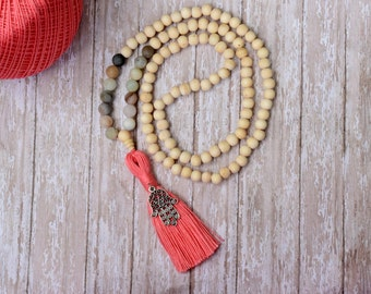 Bead Tassel Necklace, 108 Mala Bead, Mala Necklace, Amazonite Beads, Yoga Necklace, Japa Mala Bead, Wood Meditation Beads, Bohemian Jewelry