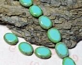 10 ~ Aqua/Green Picasso Edge 9x12mm Czech Glass Table Cut Oval Beads