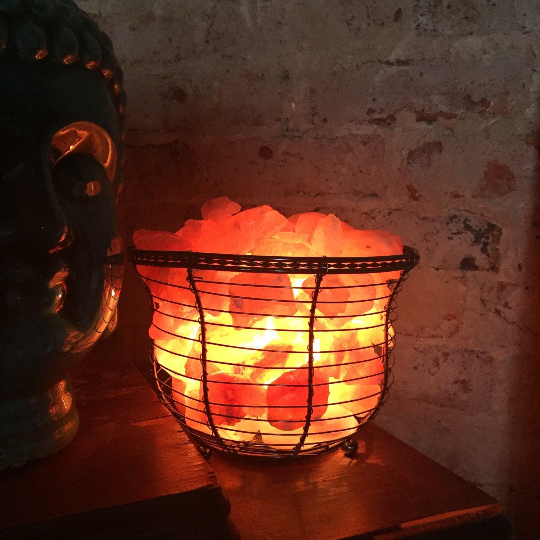 SALT LAMP BASKET {Ionic Himalayan Sea Salt Basket Lamp, Naturally Clean Air, Wedding Anniversary ...