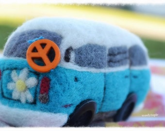 Volkswagon Bus Rattle, VWvan, wool, needle felted, custom made, one of a kind baby gift, hippie baby, unique for baby by wooly topic