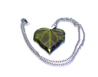 Dark ivy leaves necklace. Free gift box. Made in UK