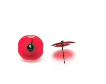 Handmade Poppy stud earrings. Come in a gift box.