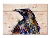 """Raven Watercolor on Cedar """"Here's Trouble"""", Painted Bird, Indoor and Outdoor Decor, Wall Decor, Wall Hanging Art. (DCHT2014)"""