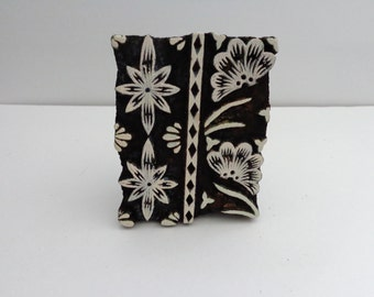 Hand Carved Antique India Tropical Floral Wood Block Stamp,home decor,wall hanging