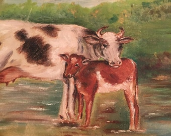 Antique Cow painting cattle
