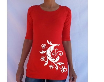Spring Sale, 10% OFF Ends April 30th. Fun maternity Shirt with cute flower design on the belly area