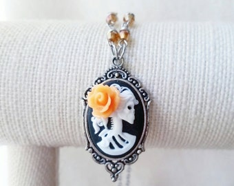 Skeleton cameo necklace - skull cameo - gothic necklace - skull necklace - gothic jewelry - cameo necklace - skull cameo necklace