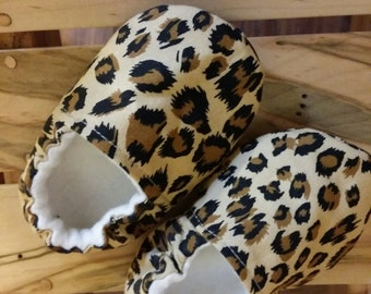 Leopard Print Crib Shoes  - Modern baby shoes, baby moccs,