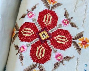 "Handmade Vintage Cross Stitch Table Cloth | 65"" x 100"" Long Table Cloth HUGE"
