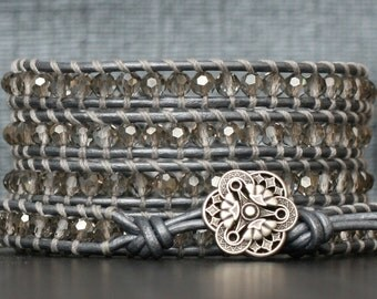 wrap bracelet- silver smoke crystal on silver leather- beaded leather 5 wrap bracelet
