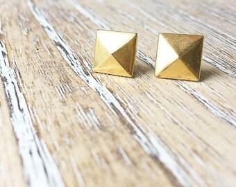 Gold Metal Rivet Earring-Titanium Studs- Sensitive Ears- Metal Earrings