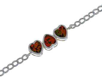 Black Opal Heart Bezel Bracelet .925 Sterling Silver