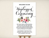 """Instant Download, Unplugged Ceremony Sign 8""""x10"""" & 24""""x36"""", Print Ready Large Wedding Sign, Wedding Decor Template, DIY Printable PDF (UWP8)"""