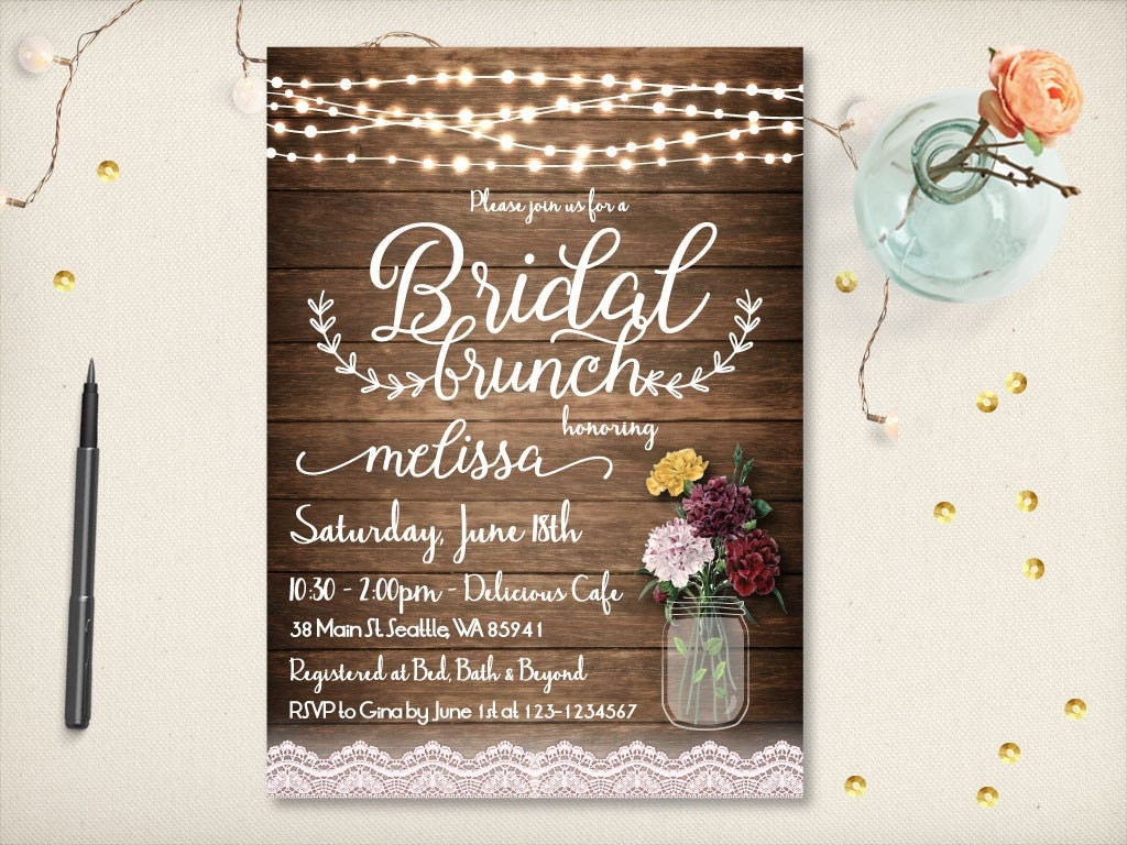 Rustic Bridal Brunch Invitation Mason Jar Spring Vintage