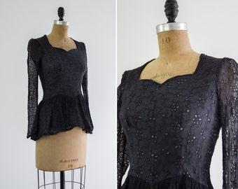 vintage 1940s lace eyelet blouse | black 40s peplum top