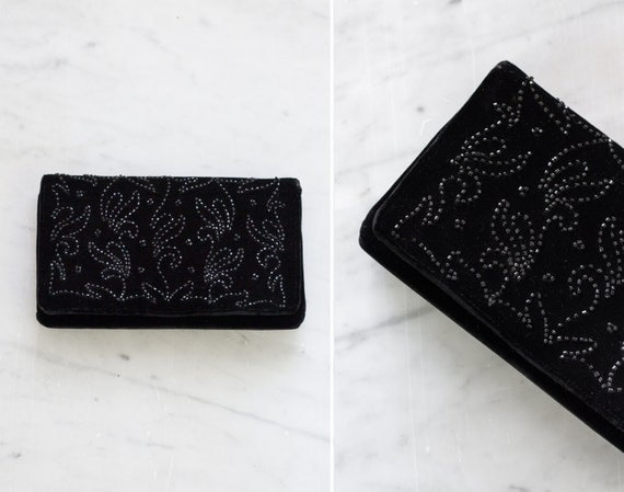 vintage 1950s velvet clutch | 50s black beaded clutch purse | formal beaded evening bag