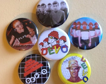 """Devo pin back buttons 1.25"""" set of 6"""