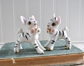 Vintage Zebra Figurine Pair with Pink Flowers Ceramic Porcelain Japan