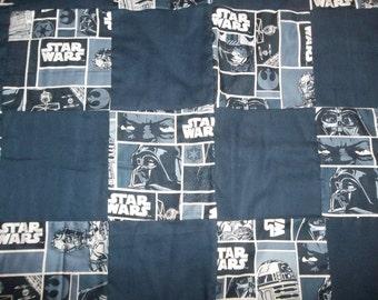 Star Wars Navy Blue Block Quilt Throw Lap Blanket 42 x 48