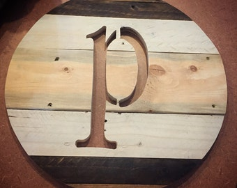 Monogrammed reclaimed wood round