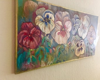 "ORIGINAL Oil Painting of Evening Pansies on Canvas - Large Original Art - Original Flower Painting - 18"" x 36""- Impressionist - Purple Pansy"
