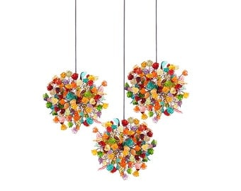Triple Pendant Chandelier ceiling lighting - multicolored flowers and leaves for Kitchen Island, Dinning Room.