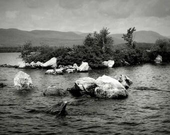 Big Squam Lake New Hampshire Black and White Photography Scenic Landscape Print Canvas Wall Art