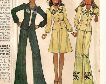 """A Long Sleeve, Hip-Length Shirt, Flared Skirt, and Wide Leg Pants Pattern for Women: Uncut - Sizes 12-14-16, Bust 34"""" - 38"""" • McCall's 4667"""