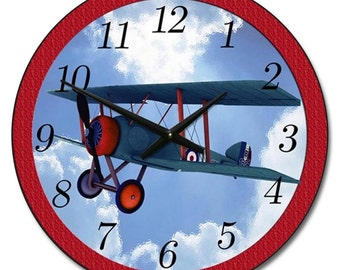 Airplane Red Wall Clock