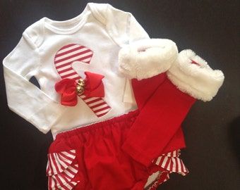 Girls CHRISTMAS CANDY CANE outfit, girls clothing, girls holiday clothing, candy cand photo prop