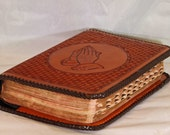 Bible Cover, Handmade from Genuine Leather, fully lined.