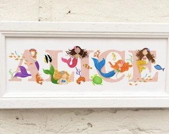 Children's / Kids Door Plaque - Mermaids theme