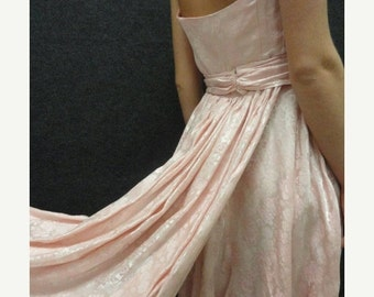 SALE 50s Dress // Vintage 1950s Light Pink Brocade Strapless Wedding or Prom Dress with Short Train S