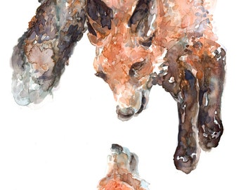 Happy Foxes - Art Print Flat Card with Envelope