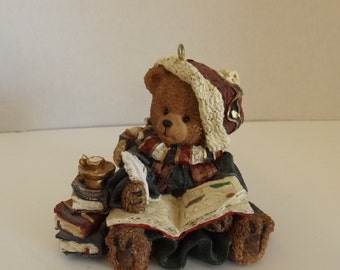 Christmas Bear Figurine Writing in a Book Ceramic CL21-25