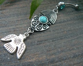 tribal belly ring Thunderbird belly ring  in tribal fusion southwest tribal  boho and hipster style