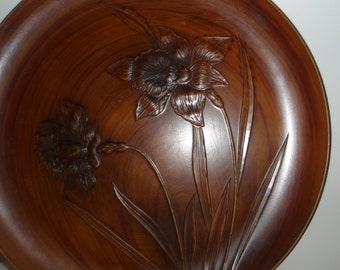 Large Serving Tray with the look of wood, 13inch across brown tray with Iris flowers