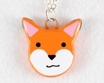 Cute Fox Necklace - Polymer Clay Necklace - Fox Jewelry - Fox Pendant - Kawaii Fox - Animal Necklace - Orange Fox - Polymer Clay Jewelry