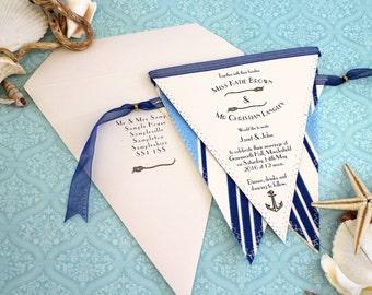 Nautical Bunting Wedding Invitation - Seaside Vintage Invite