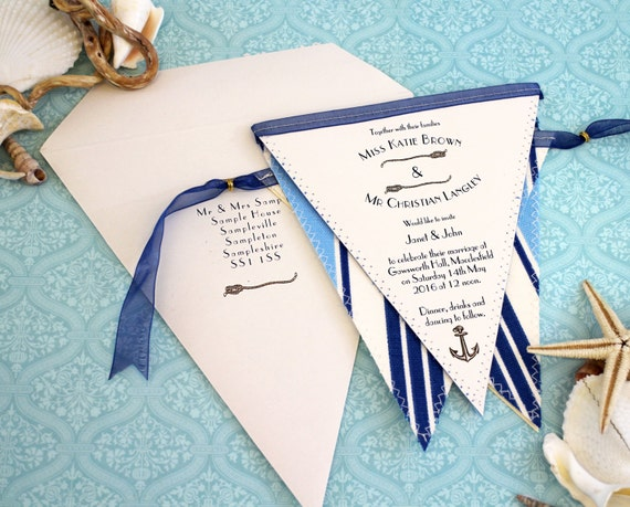 Bunting Wedding Invite: Nautical Bunting Wedding Invitation Seaside Vintage Invite
