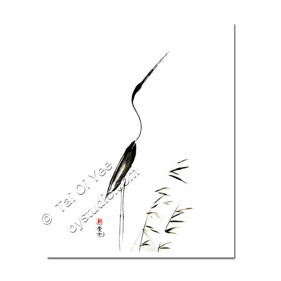 Zen Art  - Sumi-e of  crane  print - With My Head Held High