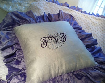 Silk Monogrammed Pillow Sham in lavender and white