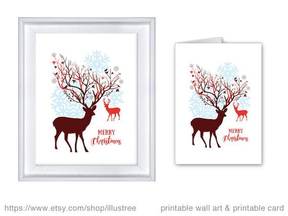 christmas deer printable card reindeer art print wall art