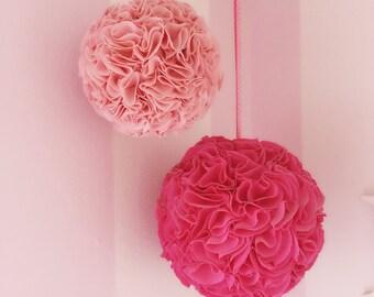 Fabric Bloom balls: nursery or playroom fabric flower pom pom balls, SET OF 2